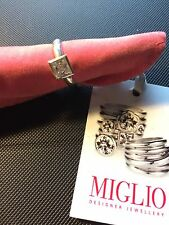 Miglio Sterling Silver Ring. with Swarovski Square Crystal