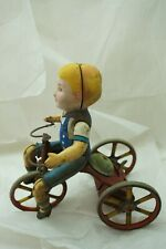 VINTAGE MARX TOY WIND UP WONDER CYCLIST BOY ON TRICYCLE TIN LITHO ORIGINAL 9in