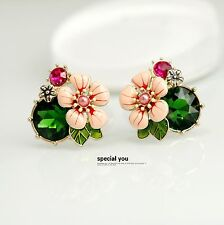 Fashion Earrings Studs Big Flower Pink Enamel Green Emerald Retro Class L2