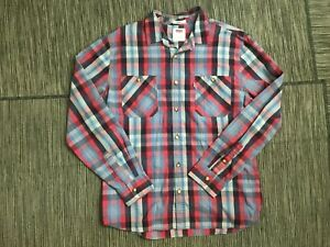 Levis Mens Large Button Up Shirt Standard Fit Long Sleeve Cotton/Polyester