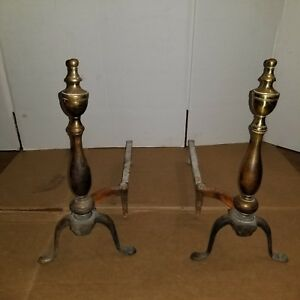 "Antique Federal Style Pair of Brass Fireplace Andirons 17"" Tall MARKED 1919"