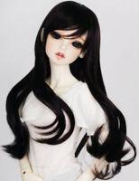 "8-9"" 1/3 BJD Long Black Curly Curl Wig LUTS Doll SD DZ DOD MSD Dollfie Hair"