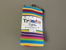 NWT Girl's Trimfit Cotton/Spandex Tights Size 6-8 Cherry Red Multi Stripe #106R