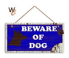 Beware of Dog Sign, Dog Bite Sign, Blue Distressed 5x10 Rustic Wood Dog Sign