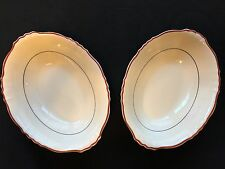 Set of 2 Syracuse China Oval Vegetable Serving Dishes Maroon Stripe OPCO Stamp