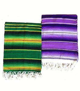 Mexican Striped Saltillo Serape 2 Color Blanket fiesta hot rod seat cover 64x84
