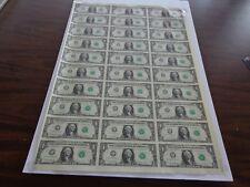 30 UNCUT SHEET $ 1 ($1 X 30) Legal USA 1 DOLLAR*Real Currency NOTES*RARE BILLS