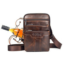 Men Oil Wax Leather Cowhide Retro Shoulder Cross Body Messenger Pack Sling Bag