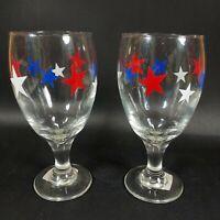 Set of 2 NEW Rare LIBBEY Patriotic Wine glasses Red White Blue Stars U.S.A.