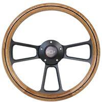 1969-1994 Chevrolet Impala, Caprice Oak Steering Wheel, Horn + Full Adapter Kit