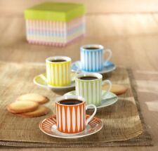 4 Cup & Saucer 60ml Espresso Set in Gift Box Multicolour Coffee Tea Expresso Mug