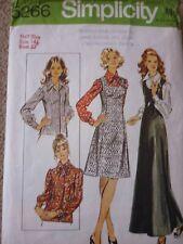 VINTAGE 1970'S SIMPLICITY SHORT & MAXI PINAFORE DRESS & BLOUSES SEWING PATTERN