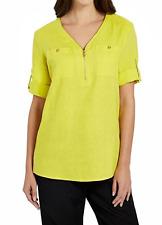 NWT Ellen Tracy Company Size M Linen Top Limeade Green Gold Zip Roll Sleeves