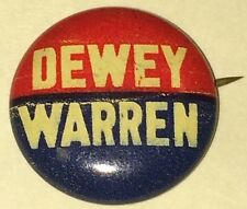 1948 THOMAS E. DEWEY / WARREN Presidential campaign Pin-back DEMOCRATIC PARTY