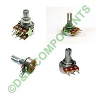1/2/5/10/20/50/100/200/500 K/M Ohm Potentiometers Lin/Log/Switched/Single/Dual