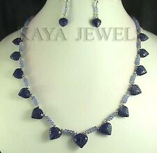 DESIGNER NATURAL TANZANITE & SAPPHIRE CARVED LEAF BEADS NECKLACE WITH EARRINGS