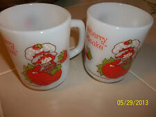 LOT OF 2 ANCHOR HOCKING STRAWBERRY SHORTCAKE COFFEE MUGS  USA EXC COND
