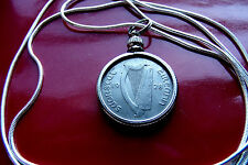 """Very Fine 1928 Irish Sixpence Pendant Antique on a 18"""" .925 Silver Snake Chain"""