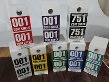 2 Part Pro Coat Check Tickets - 500 Tickets - multiple colors -
