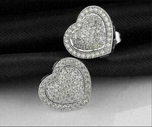 1.50Ct Round Cut Heart Shape VVS1 Diamond Halo Stud Earring14K White Gold Finish
