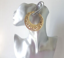 Stunning! large gold tone filigree pattern CREOLE style BIG hoop earrings, *NEW*