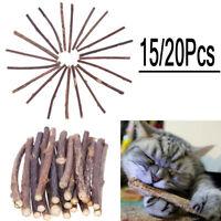15/20pcs Cat Snacks Matatabi Chew Catnip Stick Teeth Molar Cleaning Brush Toy