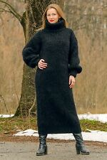 Black hand knitted mohair sweater slouchy fuzzy long dress by SUPERTANYA - SALE