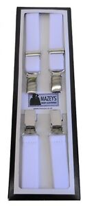 Mens White Made in England 1/2 Inch Braces