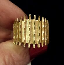 BEAUTIFUL Textured & DIAMOND-CUT Wide Band Ring in 14K Yellow Gold, Size 5 1/2