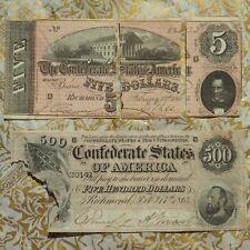 Confederate 1864 Richmond $5 & $500 Bills/Banknotes ~ Lot of Two Bills