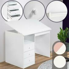 Children's Kids Study Desk Art Writing Table Adjustable with 3 Drawers in White