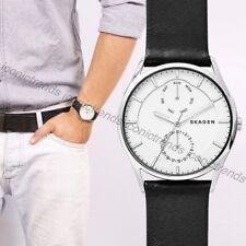 NWT🎱 Skagen SKW6382 Holst Black Leather Band Multi Function 40mm Titanium Watch
