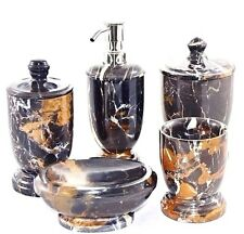 Exotic 5-Piece Michelangelo Marble Bathroom Accessory Set of Bengal Collection