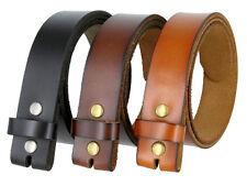 "Black Brown Tan Genuine Full Leather Belt Strap 1-1/2"" wide UNISEX Belt Snap on"