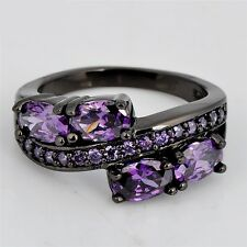 On Clearance! ~ Size 6 ~Amethyst ~ 10KT Gold, Black Gothic ~ Engagement Ring