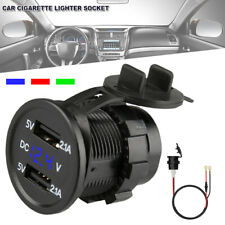 Car Charger Socket Dual USB Port Display Cigarette Lighter Phone Fast Charging