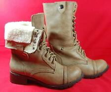 Women's SODA ORAL Tan Combat/Military Laceup Faux Fur Mid Calf Casual Boots NEW