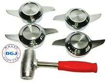 2 Bar Cut Chrome Knock-Off Spinners & Red Lead Hammer for Lowrider Wire Wheel(M)