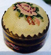 Vintage Black Cloisonne Trinket Vanity Box Hinged Lid Petit Point Stitch Top