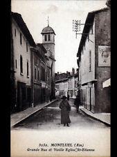"""MONTLUEL (01) Publicité murale """"BISCUIT LU"""" aux COMMERCES animés période 1930"""