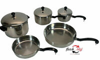 Set of 5 Farberware Aluminum Clad Stainless Steel Pots & Pans with 3 lids Nice!!