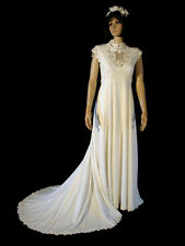 Vintage Late 1960's Flower Child White Sleeveless Wedding Gown With Train