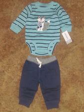 Boys Carter's Nwt 2-pc. long sleeved turquoise bodysuit blue pant set size 3m