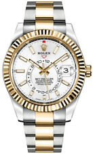 Rolex Sky Dweller Two-Tone Oyster 42mm White Dial Fluted Bezel Dual Time 326933