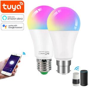 B22 E27 Wifi Smart LED RGB Light Bulb Dimmable Tuya APP For Amazon Alexa 15W 10W