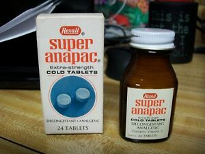 NOS Vintage REXALL Super Anapac Cold Tablets Shelf-Pull from Closed Drugstore