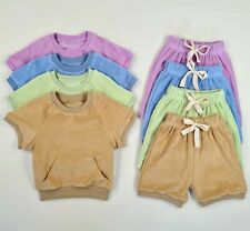 100% Cotton Towelling 2 PCS Summer Outfit Set Clothes for Baby Toddler Girls Boy
