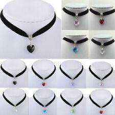 Gothic Velvet Heart Crystal Choker Handmade Necklace Pendant Retro 80s 90s NEW