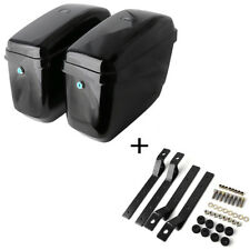 Motorcycle Hard Bag Saddlebags + Free Mounting Kit for Harley Suzuki Honda Black