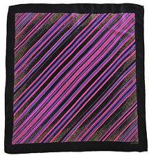 RARE Vintage Irene GALITZINE Designer Geometric Striped Purple Black Silk Scarf